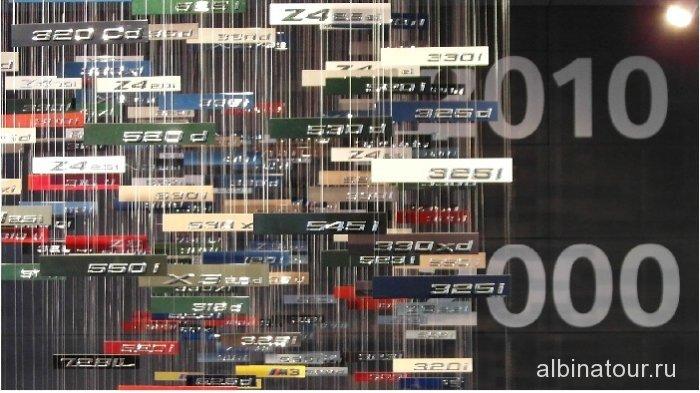 Германия Крупный план стенда  из шильдиков моделей БМВ