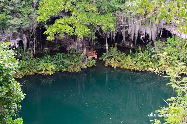 Доминикана Санто Доминго пещеры три глаза третье озеро