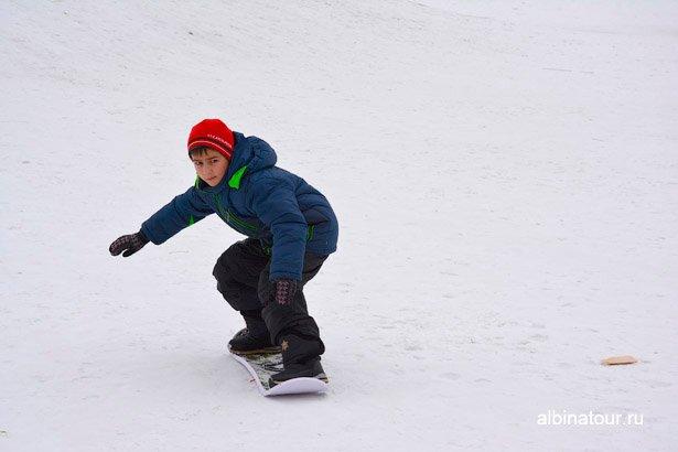 Сноубордист горка в яблоневом саду СПб