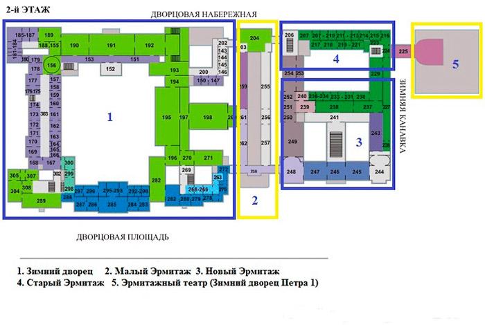 Схема зданий Эрмитажа Петербург