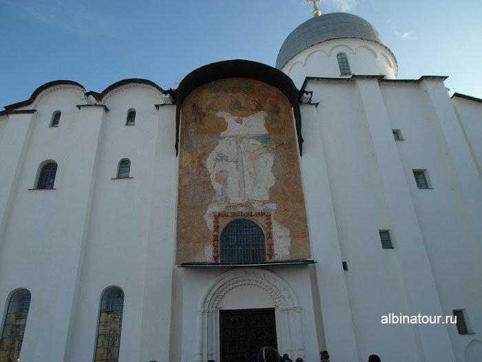 Фото фрагмента фресок на Софийском Соборе в Великом Новгороде