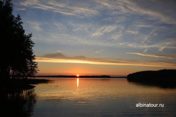 Фото закат солнца на озере Сайма Лаппеенранта в кемпинге Хухтинием | Huhtiniemi camping