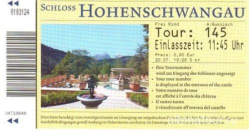 Германия билет в замок Хоэншвангау