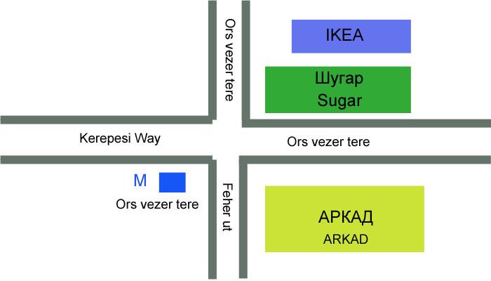 Венгрия  схема расположения торговых центров у метро Ors veser tere в Будапеште