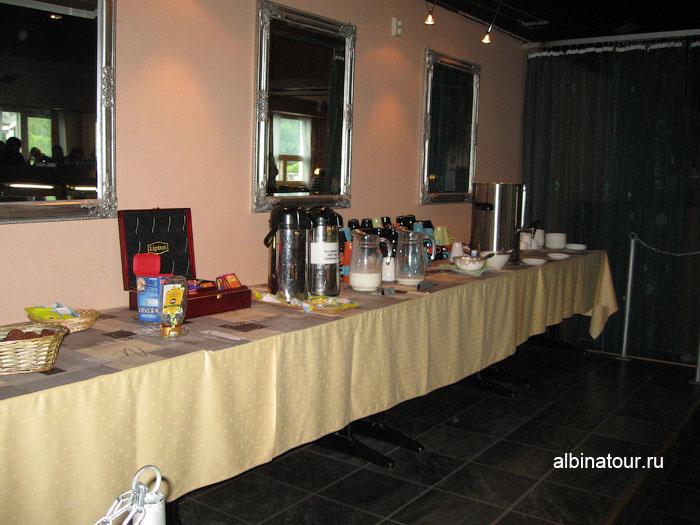 Финляндия Иматра завтрак в ресторане на втором этаже отеля Vuoksenhovi 4