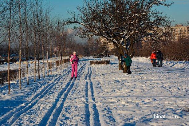 Лыжня в яблоневом саду Купчино