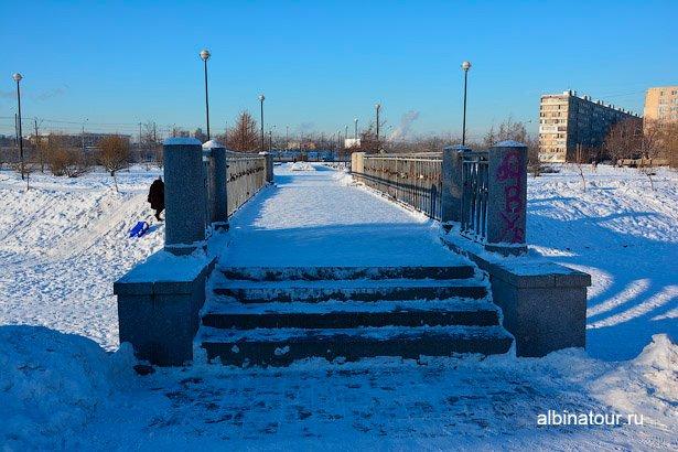 Зимний мост через озеро яблоневый сад Купчино