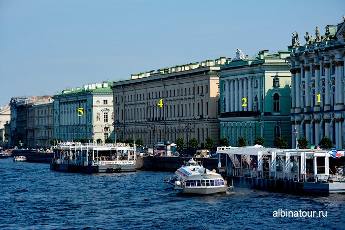 Фасады здания Малый и Старый Эрмитаж в Петербурге со стороны Невы