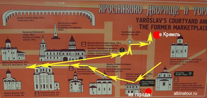 Фото схема карта Ярославово городище и торга в Великом Новгороде