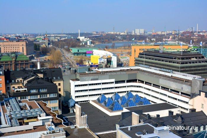 Вид на Хельсинки со смотровой площадки hotel Torni Финляндия